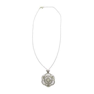 Edwardian Old Mine Cut Diamond and Platinum Pendant Necklace