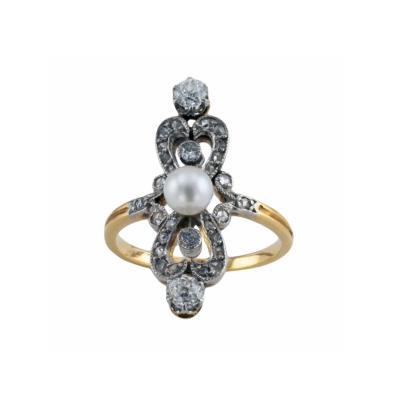 Edwardian Pearl Diamond Ring Circa 1910