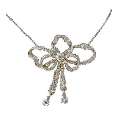 Edwardian Platinum 18K Diamond Articulated Bow Necklace
