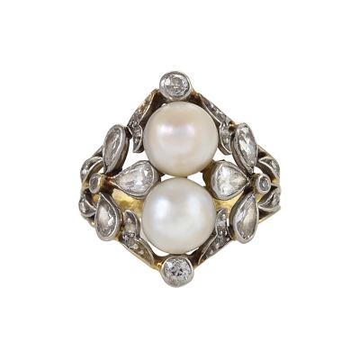 Edwardian Ring featuring Pearls and Diamonds