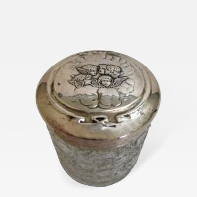 Edwardian Sterling Lidded Glass Vanity Jar of Cherub Design