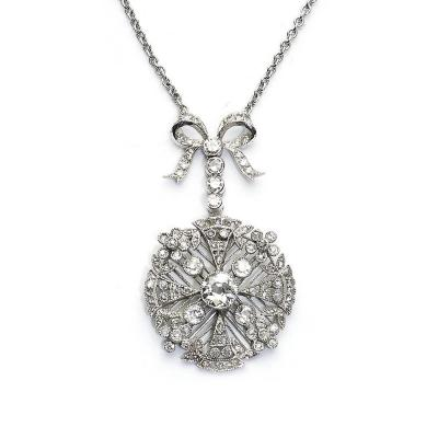 Edwardian Style Diamond Platinum Pendant