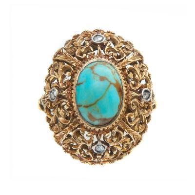 Edwardian Turquoise Yellow Gold Handmade Ring