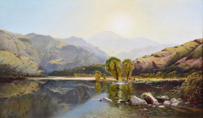 Edwin Henry Boddington Morning in North Wales Huge 19th Century Exhibition Landscape Oil Painting