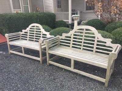 Edwin Lutyens Pair of 66 Long English Teak Lutyens Style Benches