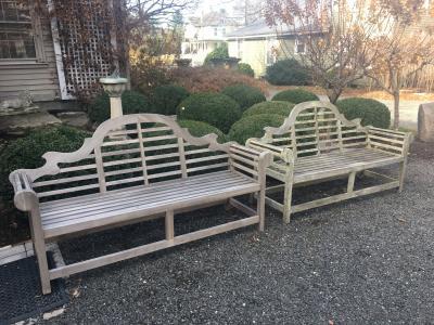 Edwin Lutyens Pair of 77 Long English Teak Lutyens Style Benches