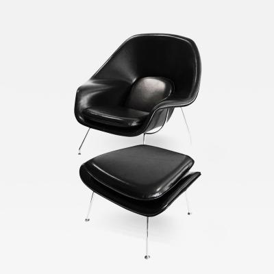 Eero Saarinen Early Womb Chair and Ottoman by Saarinen for Knoll in Black Leather