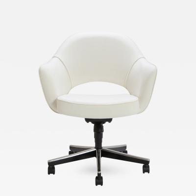 Eero Saarinen Saarinen Executive Arm Chair in Ivory Basket Weave Swivel Base