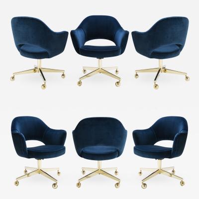 Eero Saarinen Saarinen Executive Arm Chair in Navy Velvet Swivel Base 24k Gold Edition S 6