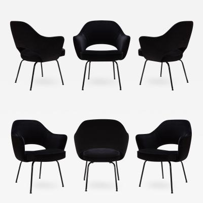 Eero Saarinen Saarinen Executive Arm Chairs Black Edition Set of 6