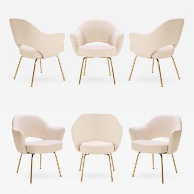 Eero Saarinen Saarinen Executive Arm Chairs in Bone Luxe Suede 24k Gold Edition Set of 6
