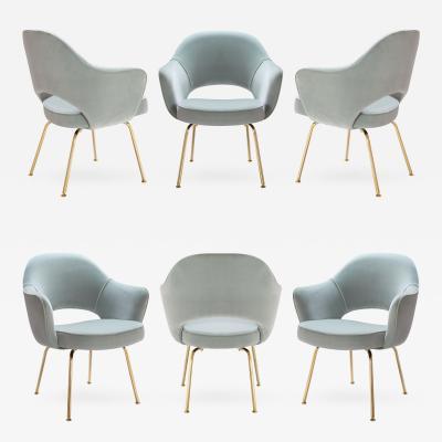 Eero Saarinen Saarinen Executive Arm Chairs in Celadon Velvet 24k Gold Edition Set of 6