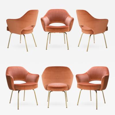 Eero Saarinen Saarinen Executive Arm Chairs in Rust Velvet 24k Gold Edition Set of 6