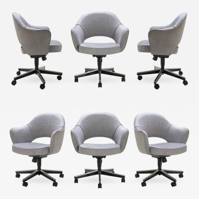 Eero Saarinen Saarinen Executive Arm Chairs in Sterling Weave Swivel Base Set of 6