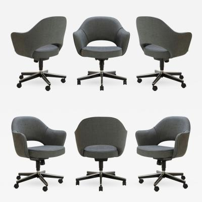 Eero Saarinen Saarinen Executive Arm Chairs in Textured Charcoal Weave Swivel Base Set of 6
