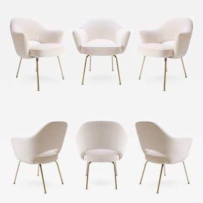Eero Saarinen Saarinen Executive Armchairs in Cr me Velvet 24 Karat Gold Edition Set of Six