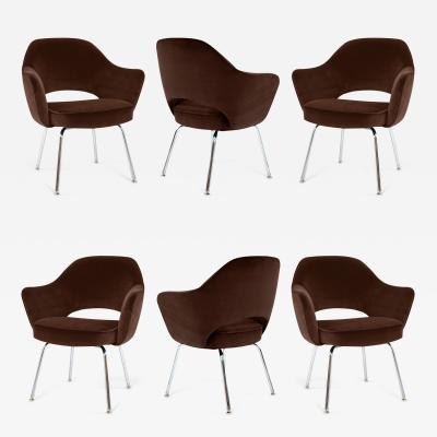 Eero Saarinen Saarinen Executive Armchairs in Espresso Brown Velvet Set of Six