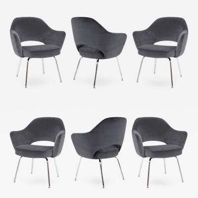 Eero Saarinen Saarinen Executive Armchairs in Gunmetal Grey Velvet Set of Six