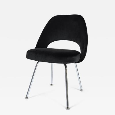 Eero Saarinen Saarinen Executive Armless Chair in Gunmetal Grey Velvet