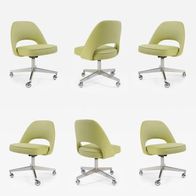 Eero Saarinen   Saarinen Executive Armless Chair With Swivel Base In Green,  Set Of Six
