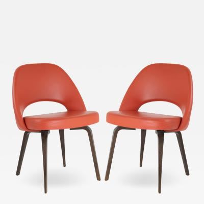 Eero Saarinen Saarinen Executive Armless Chairs in Burnt Orange Leather and Walnut Legs Pair