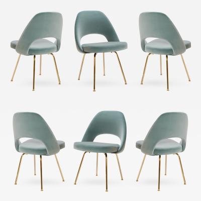 Eero Saarinen Saarinen Executive Armless Chairs in Celadon Velvet 24 Karat Gold Edition S 6