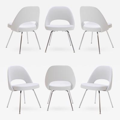 Eero Saarinen Saarinen Executive Armless Chairs in Dove Luxe Suede Set of 6