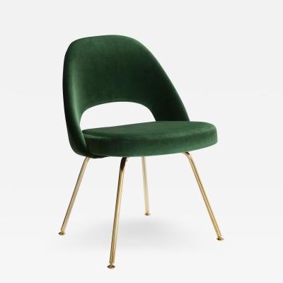 Eero Saarinen Saarinen Executive Armless Chairs in Emerald Velvet 24k Gold Edition