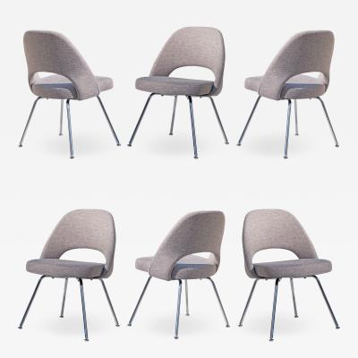 Eero Saarinen Saarinen Executive Armless Chairs in Gray by Eero Saarinen for Knoll Set of 6