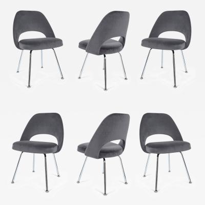 Eero Saarinen Saarinen Executive Armless Chairs in Gunmetal Grey Velvet Set of Six