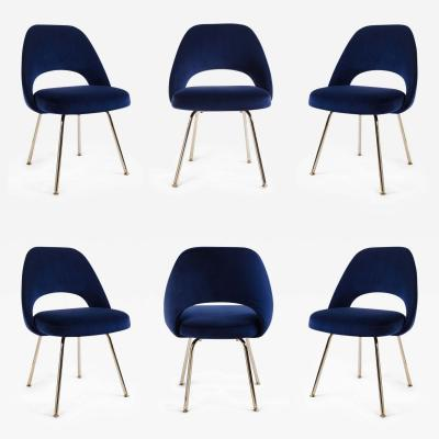 Eero Saarinen Saarinen Executive Armless Chairs in Navy Velvet 24k Gold Edition Set of 6