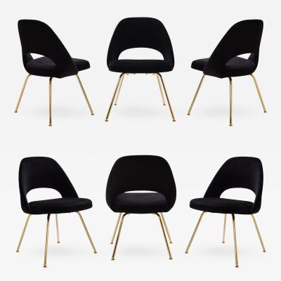 Eero Saarinen Saarinen Executive Armless Chairs in Noir Velvet 24k Gold Edition Set of 6