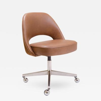 Eero Saarinen Saarinen for Knoll Executive Armless Chair in Saddle Leather Suede Swivel Base