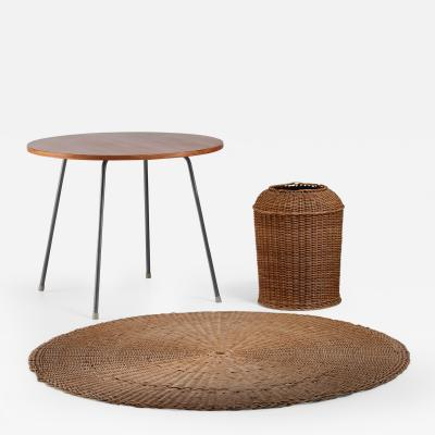 Egon Eiermann Egon Eiermann Table with Wicker Basket and Floor Mat Germany circa 1950