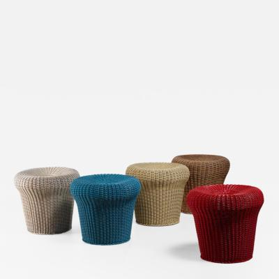 Egon Eiermann Egon Eiermann set of five rattan stools Germany 1950s