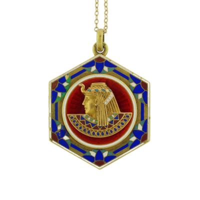 Egyptian Head Enamel Locket Pendant