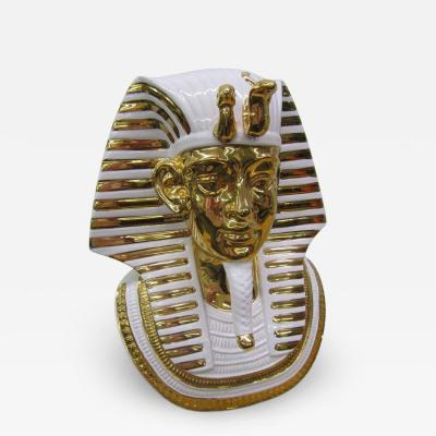 Egyptian King Tut Italian Ceramic Sculpture Bust Hollywood Regency