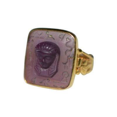 Egyptian Revival Carved Amethyst Ring