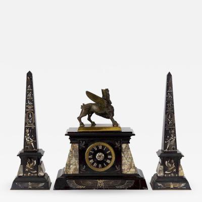 Egyptian Revival Three Piece Garniture France c 1880