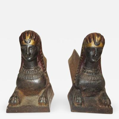 Egyptian Sphinx Andirons in Painted Iron