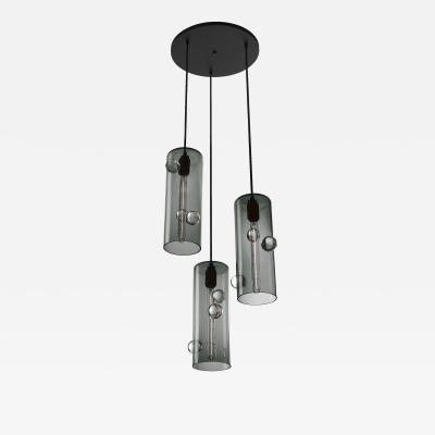Eidos Glass Obscura Triple Pendant Chandelier