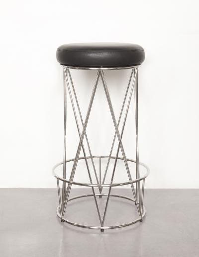 Eiffel Bar Stool Upholstered Leather Seat with Stainless Steel Structure