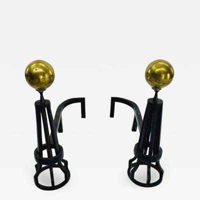 Eiffel Tower style pair of witty andirons