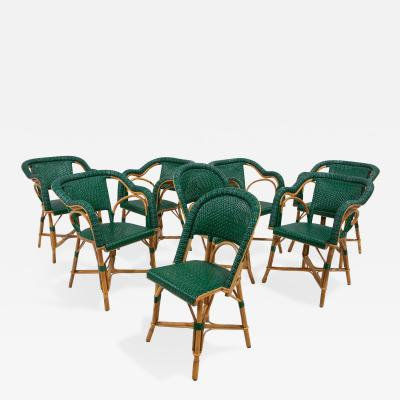 Eight French Rattan Bistro Chairs