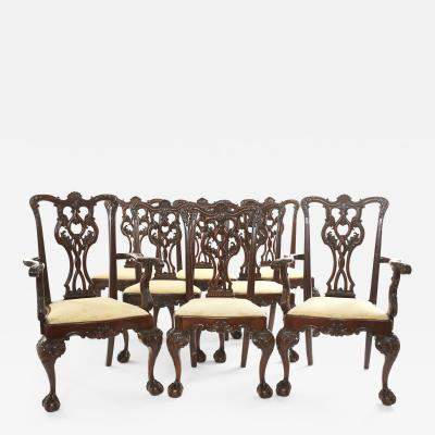 Eight Hand Carved Mahogany Dining Chair Set