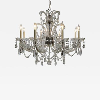 Eight Light Crystal J Arm Chandelier Circa 1930 Bohemia