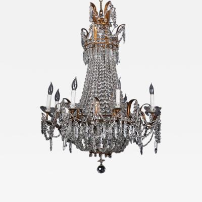 Eight Light Crystal and Brass Chandelier