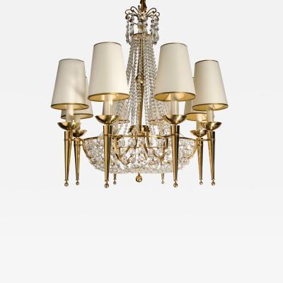 Eight Light Crystal and Gilt Bronze Chandelier