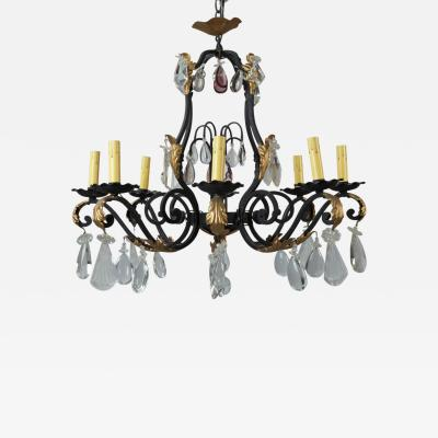 Eight Light French Iron Gilt and Crystal Chandelier