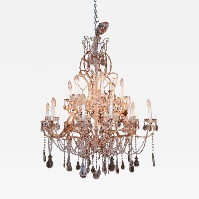 Eighteen Light Italian Antique Crystal and Beaded Chandelier